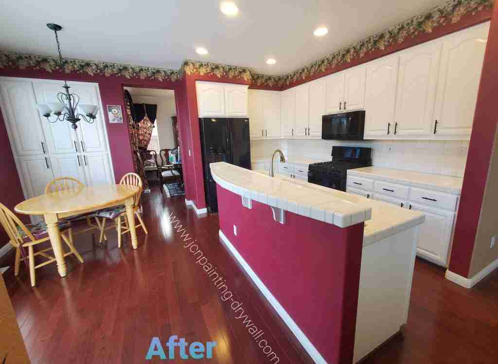 beautiful-red-wine-color-painted-kitchen-with-white-cabinets